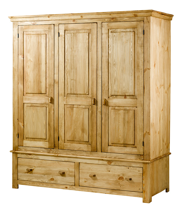 chambre meuble chambre armoire 3 portes 2 tiroirs gamme pin bross le magasin d 39 usine de. Black Bedroom Furniture Sets. Home Design Ideas