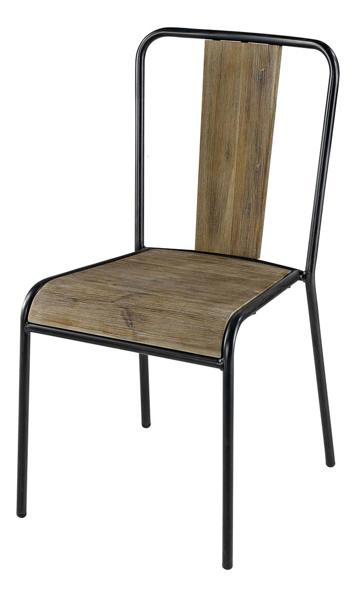 Chaise bois et metal industrial furniture bistro chair in for Chaise en bois noir