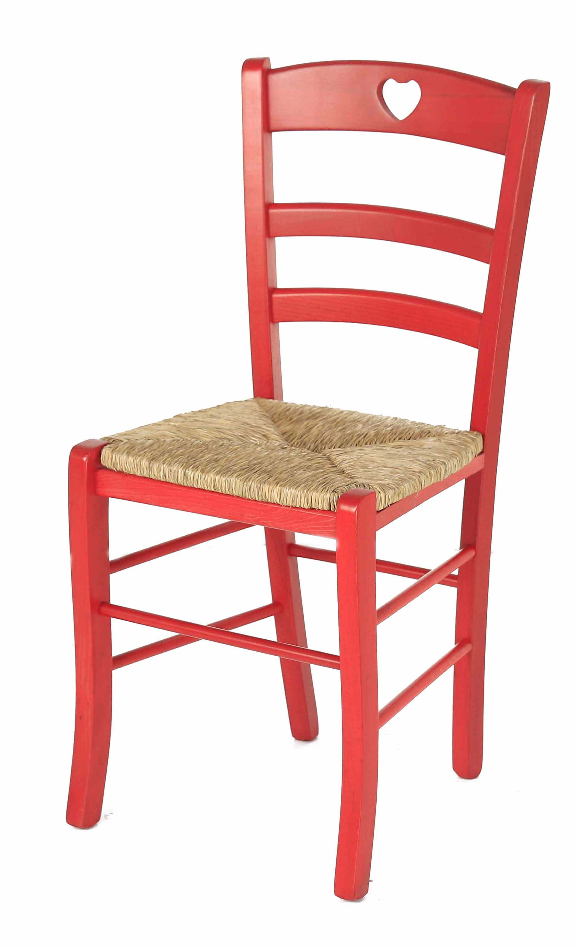 Coin repas chaises chaise h tre massif rouge coeur assise paille montagny - Chaise paille blanche ...