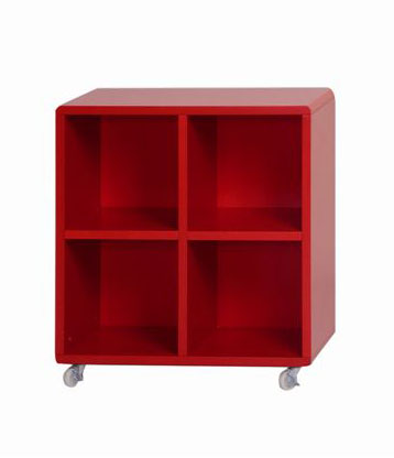 Sejour meubles d appoint cube 4 cases rouge le for Meuble 4 cases