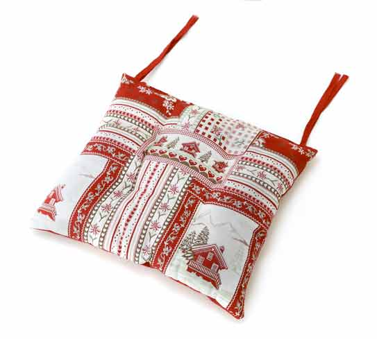 Galette de chaise Vanoise Blanc Rouge gamme Aspin