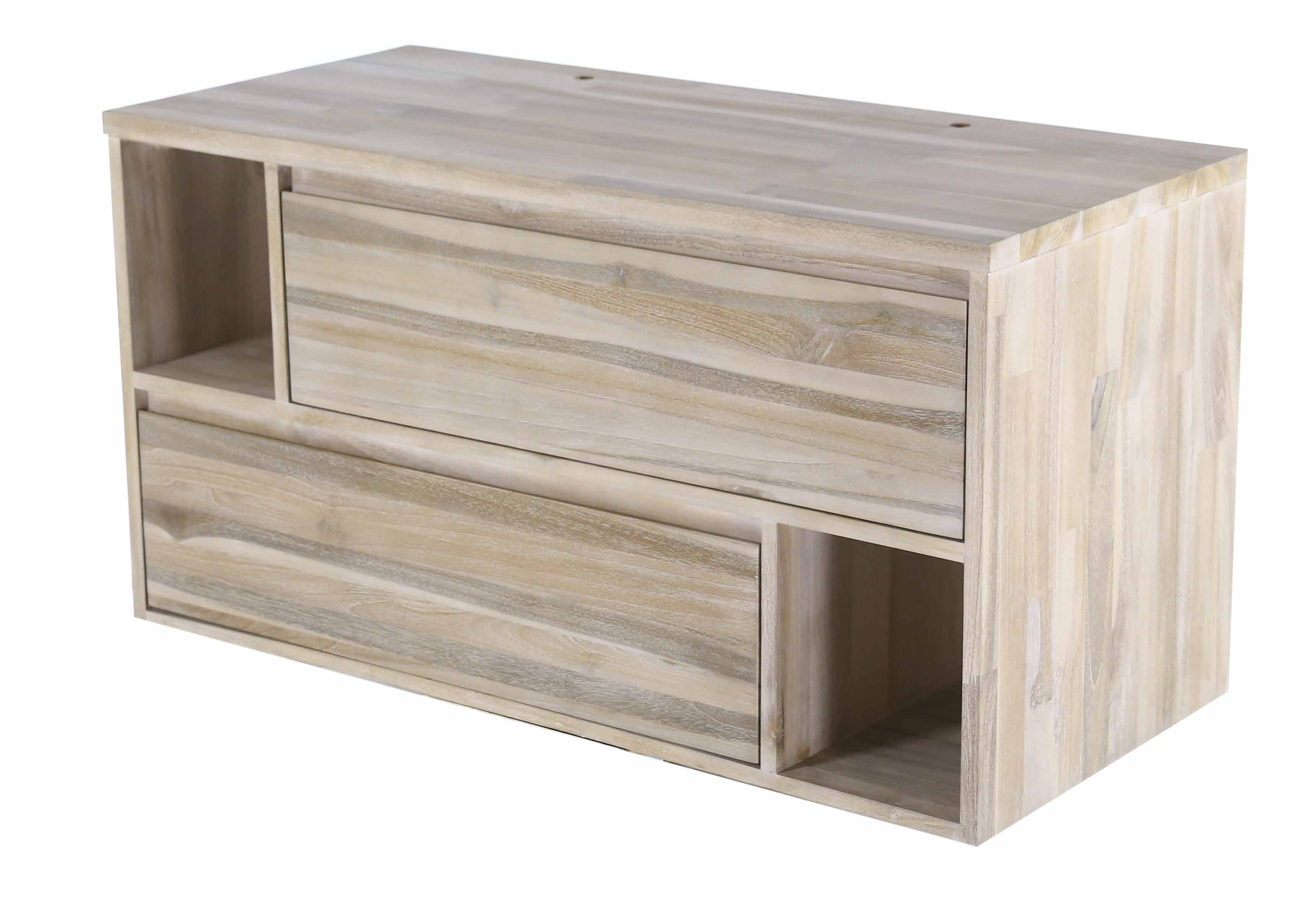 Sejour meuble bas meuble bas 2 tiroirs 2 niches 120 cm for Meuble bureau 120 cm