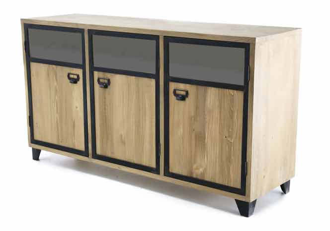sejour meuble bas meuble bas 3 portes naturel gamme kobalt le magasin d 39 usine de meubles. Black Bedroom Furniture Sets. Home Design Ideas