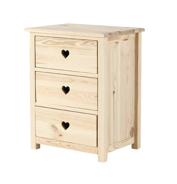 chambre meuble chambre petite commode 3 tiroirs gamme coeur pin brut le magasin d 39 usine de. Black Bedroom Furniture Sets. Home Design Ideas